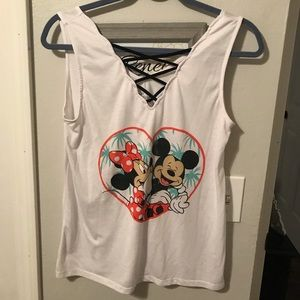 Minnie and Mickey Tank with lacing detail